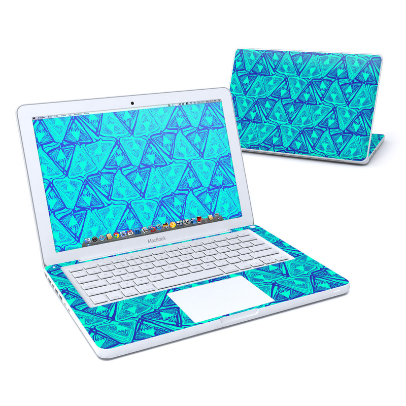 Old MacBook 13-inch Skin design of Pattern, Turquoise, Green, Teal, Line, Design, Symmetry, Electric blue, Triangle with blue, green colors