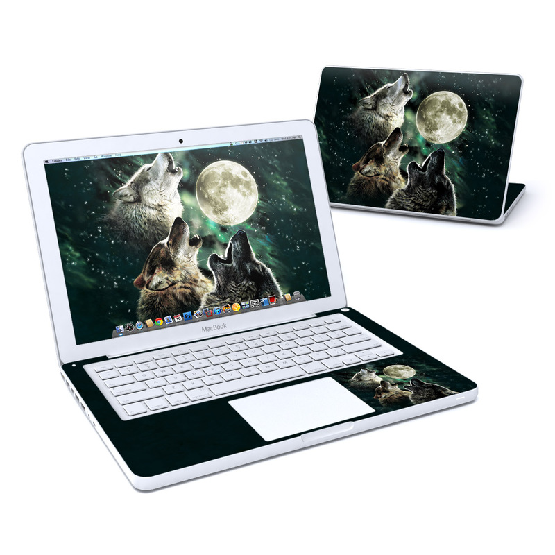 Old MacBook 13-inch Skin design of Wolf, Light, Astronomical object, Moon, Wildlife, Organism, Moonlight, Sky, Atmosphere, Celestial event with black, gray, green colors