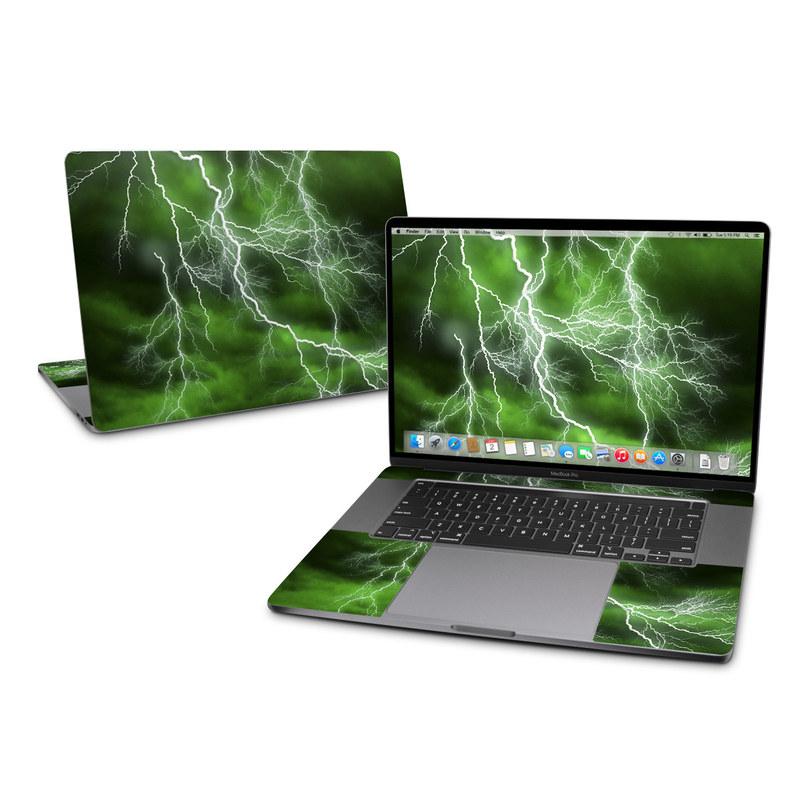 MacBook Pro 16-inch Skin design of Thunderstorm, Thunder, Lightning, Nature, Green, Water, Sky, Atmosphere, Atmospheric phenomenon, Daytime with green, black, white colors