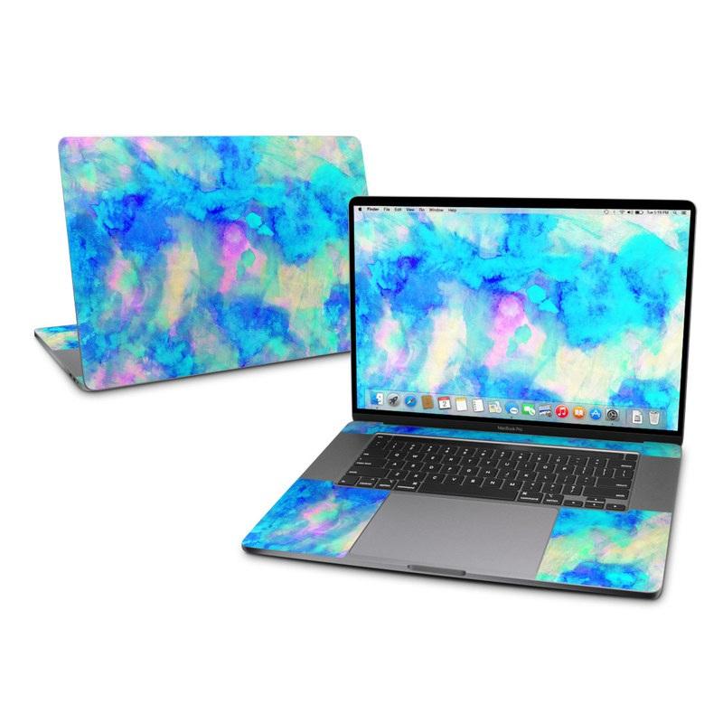 MacBook Pro 16-inch Skin design of Blue, Turquoise, Aqua, Pattern, Dye, Design, Sky, Electric blue, Art, Watercolor paint with blue, purple colors