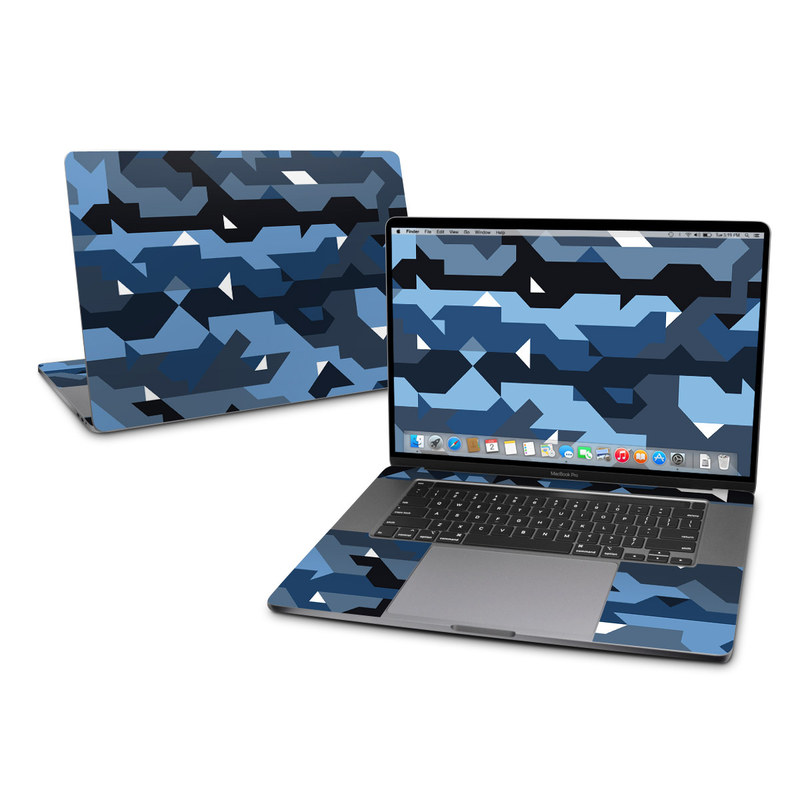MacBook Pro 16-inch Skin design of Blue, Pattern, Design, Font, Line, Camouflage, Illustration, Triangle with blue, black, white, gray colors