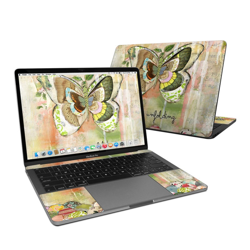 MacBook Pro Pre 2020 13-inch Skin design of Butterfly, Art, Fictional character, Pollinator, Moths and butterflies, Watercolor paint, Illustration with green, brown, yellow, blue, pink, red colors