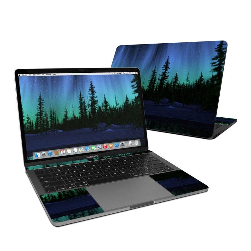 MacBook Pro Pre 2020 13-inch Skin design of Aurora, Nature, Sky, shortleaf black spruce, Natural landscape, Tree, Wilderness, Natural environment, Biome, Spruce-fir forest with blue, purple, green, black colors