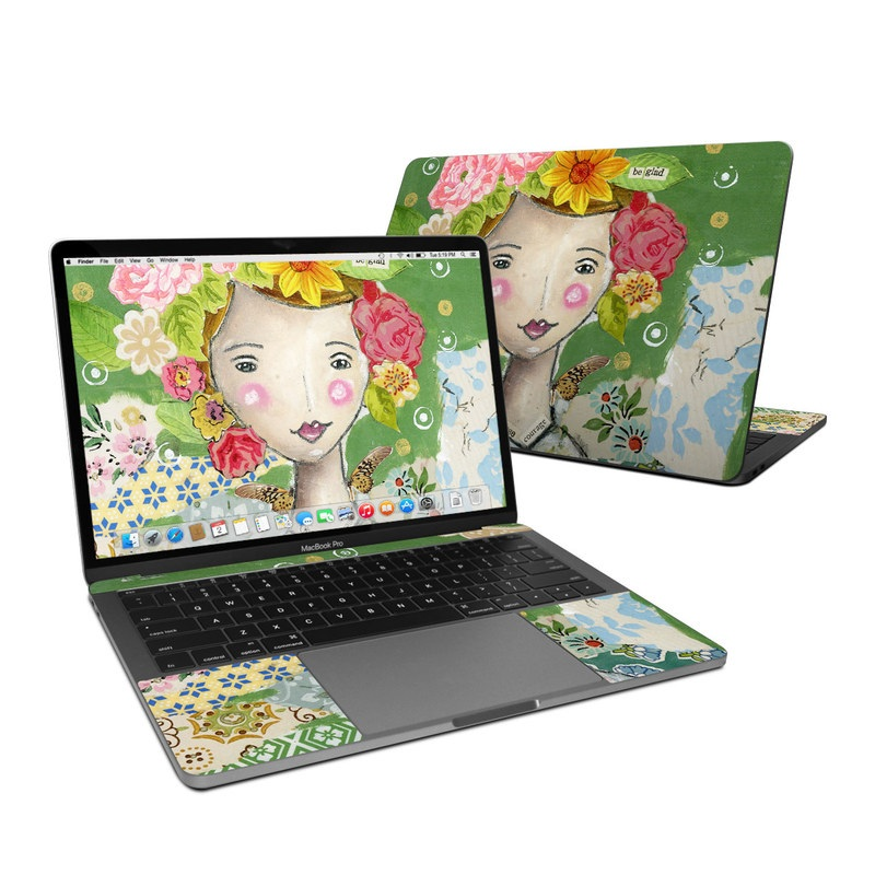 MacBook Pro 13-inch Skin design of Watercolor paint, Illustration, Art, Painting, Plant, Flower, Visual arts, Paint, Child art, Acrylic paint with green, pink, red, orange, white, blue, brown colors