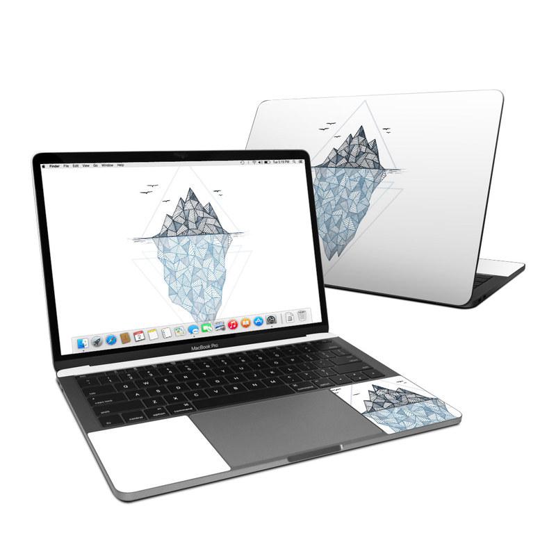MacBook Pro Pre 2020 13-inch Skin design of Line, Illustration, Design, Symmetry, Pattern, Triangle, Art with white, black, gray, blue colors