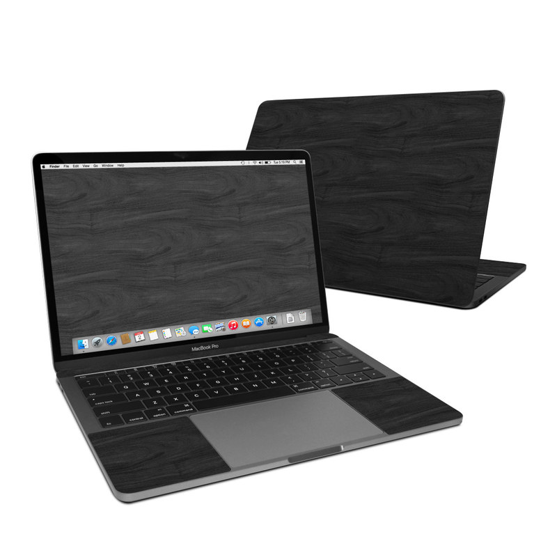MacBook Pro Pre 2020 13-inch Skin design of Black, Brown, Wood, Grey, Flooring, Floor, Laminate flooring, Wood flooring with black colors