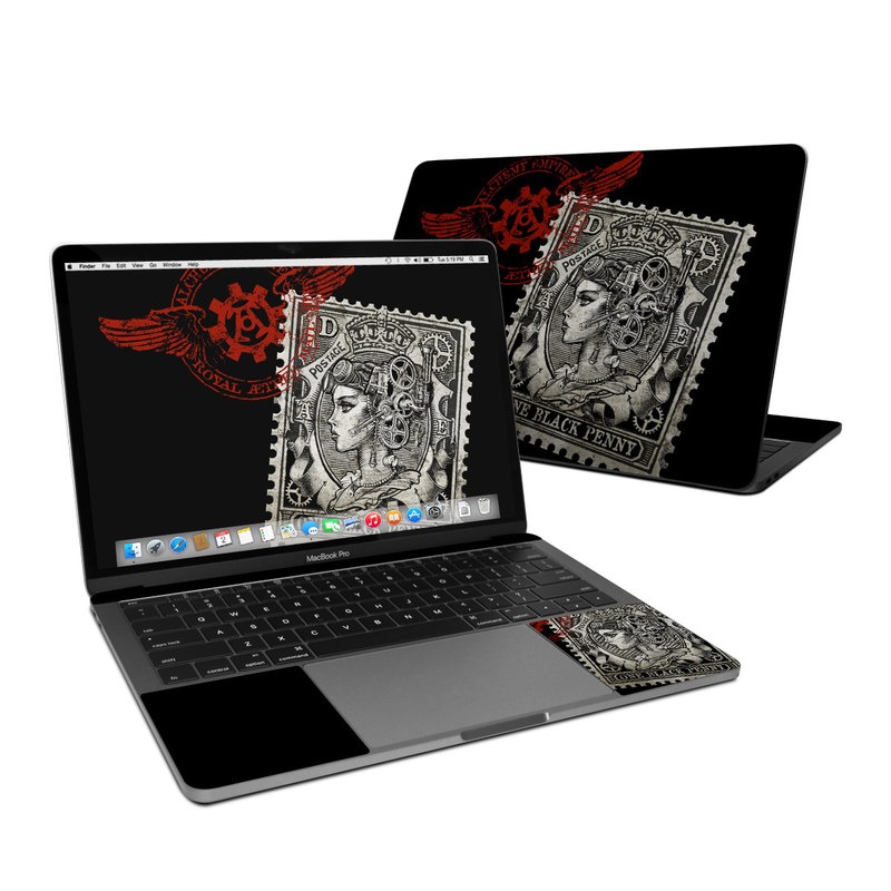 MacBook Pro 13-inch Skin design of Font, Postage stamp, Illustration, Drawing, Art with black, gray, red colors