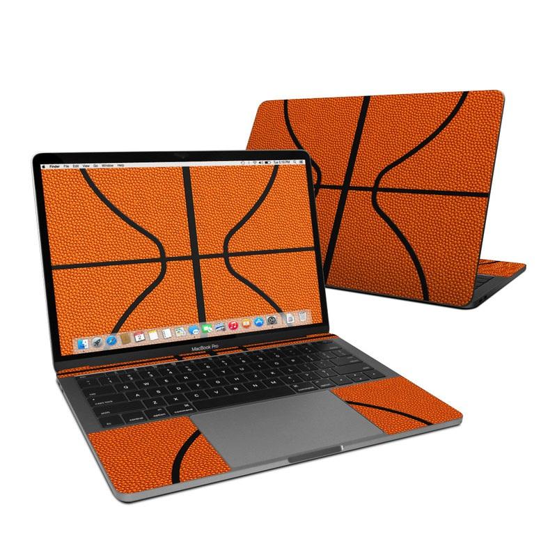MacBook Pro 13-inch Skin design of Orange, Basketball, Line, Pattern, Sport venue, Brown, Yellow, Design, Net, Team sport with orange, black colors