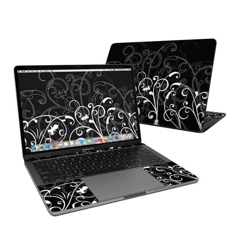 MacBook Pro 13-inch Skin design of Black, Pattern, Black-and-white, Monochrome photography, Design, Monochrome, Circle, Floral design, Font, Graphic design with black, white colors