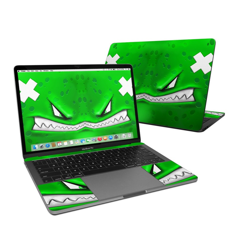 MacBook Pro 13-inch Skin design of Green, Font, Animation, Logo, Graphics, Games with green, white colors