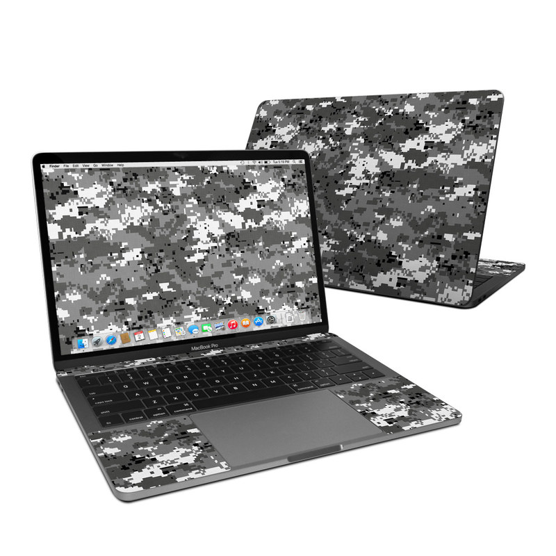 MacBook Pro Pre 2020 13-inch Skin design of Military camouflage, Pattern, Camouflage, Design, Uniform, Metal, Black-and-white with black, gray colors