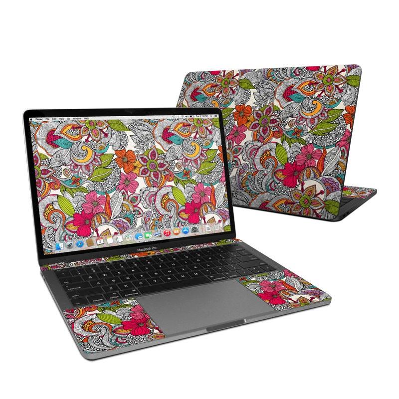 MacBook Pro 13-inch Skin design of Pattern, Drawing, Visual arts, Art, Design, Doodle, Floral design, Motif, Illustration, Textile with gray, red, black, green, purple, blue colors