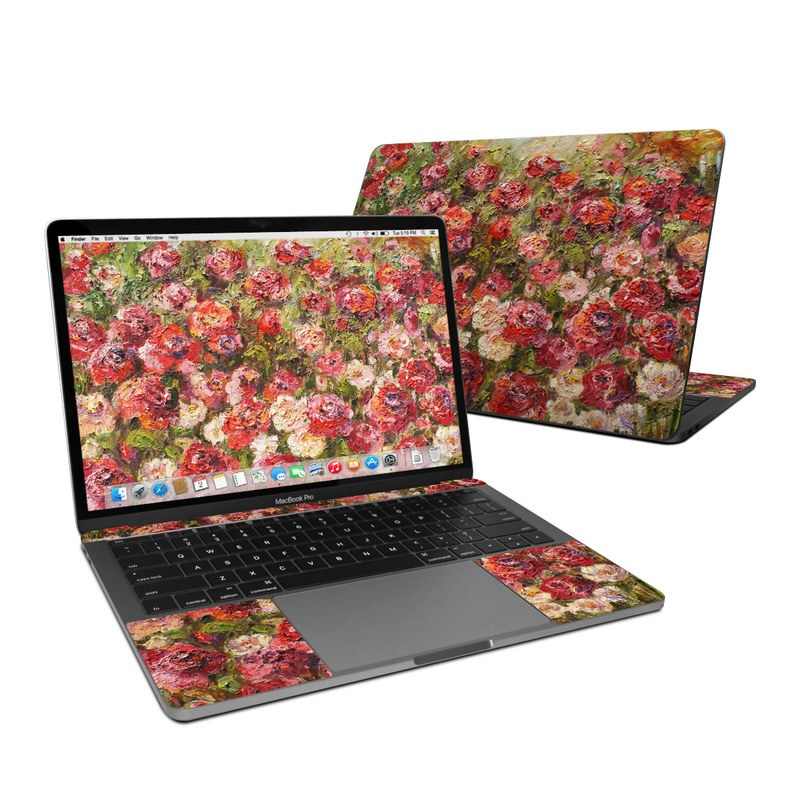 MacBook Pro 13-inch Skin design of Flower, Garden roses, Rose, Plant, Floribunda, Flowering plant, Rosa × centifolia, Rose family, Botany, Petal with red, black, green, gray colors