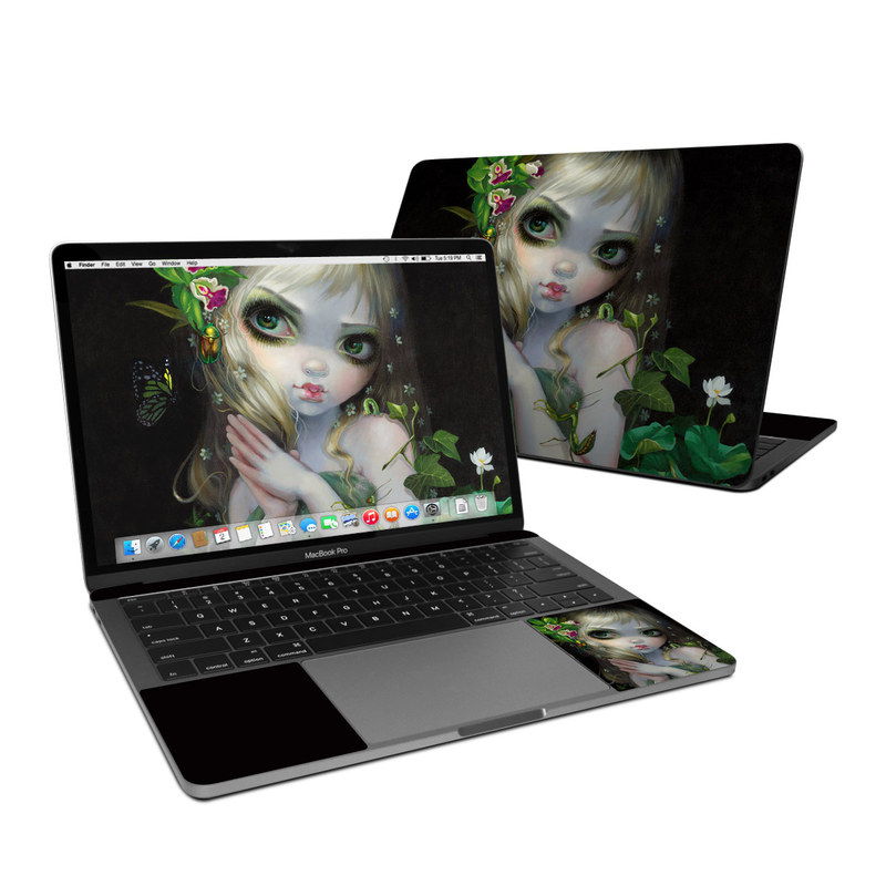 MacBook Pro Pre 2020 13-inch Skin design of Green, Doll, Fictional character, Lip, Plant, Supervillain, Flower, Illustration, Ivy, Fawn with black, white, green, red colors