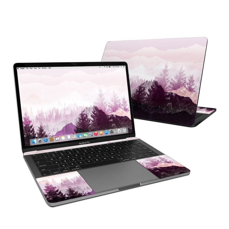 MacBook Pro 13-inch Skin design of Sky, Purple, Atmospheric phenomenon, Pink, Natural landscape, Violet, Mountain, Tree, Morning, Mountain range with white, purple, black, pink colors