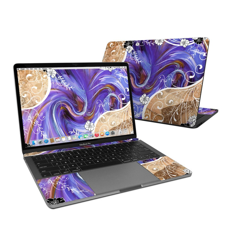 MacBook Pro Pre 2020 13-inch Skin design of Purple, Violet, Blue, Text, Pattern, Lilac, Graphic design, Design, Textile, Art with gray, blue, black, purple, green, red colors