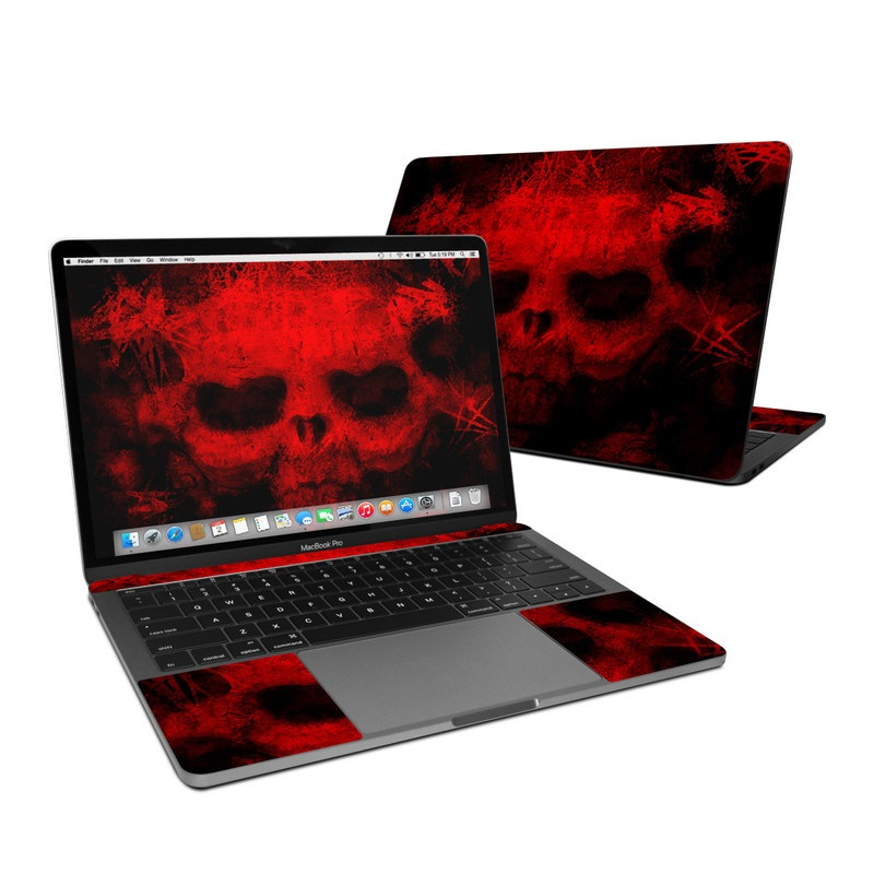MacBook Pro 13-inch Skin design of Red, Skull, Bone, Darkness, Mouth, Graphics, Pattern, Fiction, Art, Fractal art with black, red colors