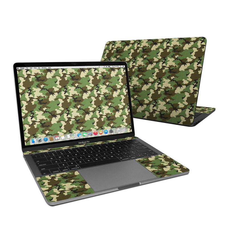 MacBook Pro Pre 2020 13-inch Skin design of Military camouflage, Camouflage, Clothing, Pattern, Green, Uniform, Military uniform, Design, Sportswear, Plane with black, gray, green colors