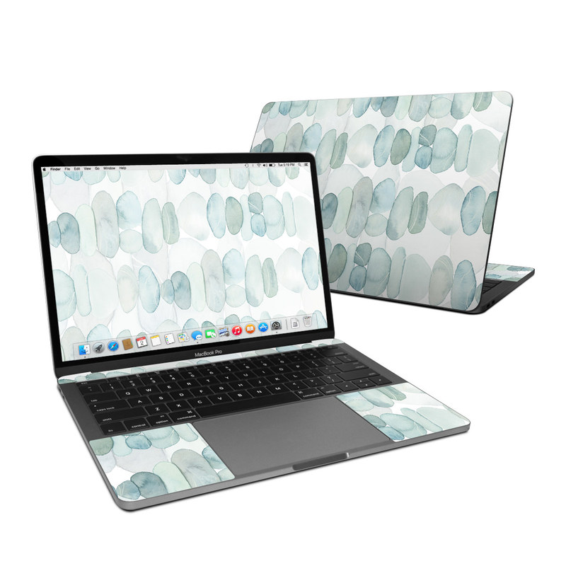 MacBook Pro Pre 2020 13-inch Skin design of Aqua, Turquoise, Circle, Pattern, Transparent material, Glass with white, blue colors