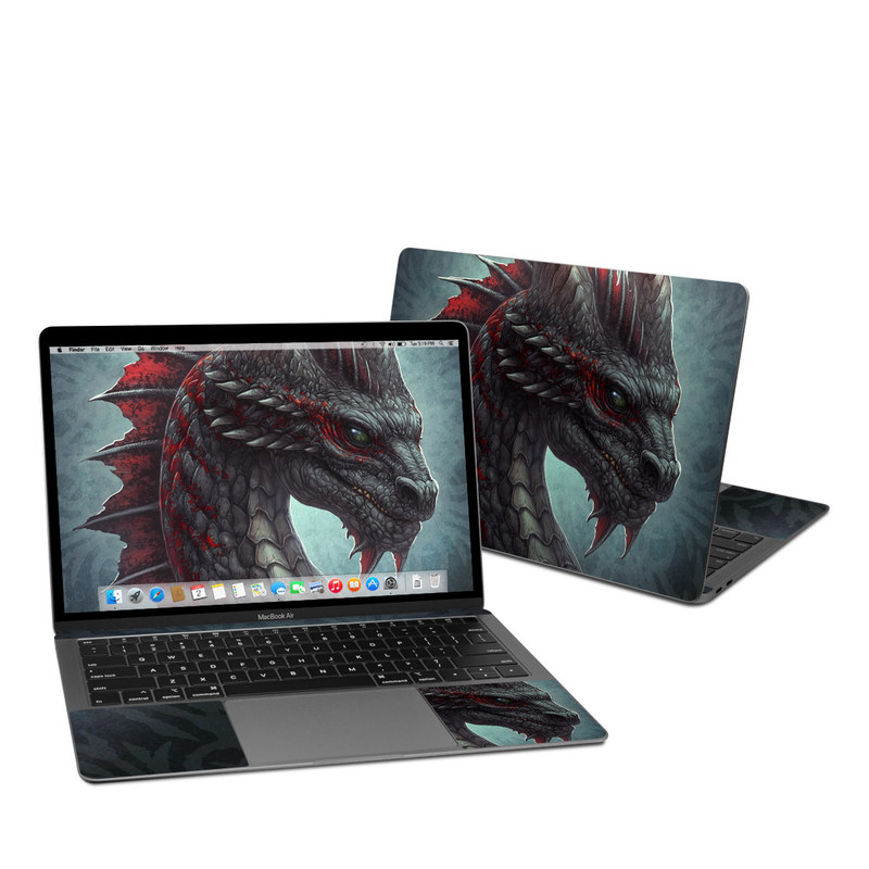 MacBook Air 13-inch Skin design of Dragon, Fictional character, Mythical creature, Demon, Cg artwork, Illustration, Green dragon, Supernatural creature, Cryptid with red, gray, blue colors