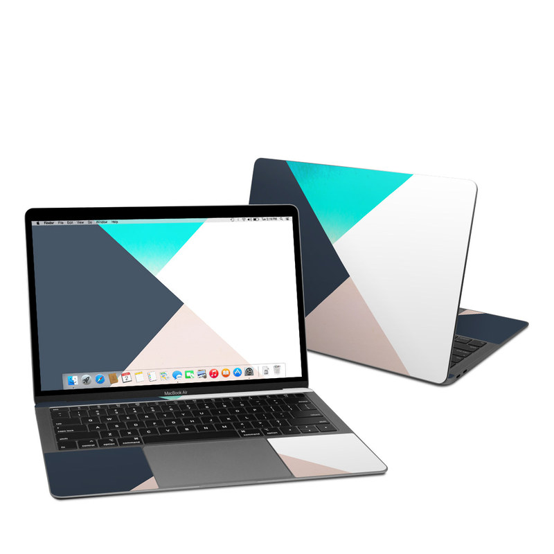 MacBook Air Pre 2020 13-inch Skin design of Blue, Turquoise, Aqua, Line, Triangle, Design, Material property, Graphic design, Pattern, Architecture with black, white, brown, blue colors