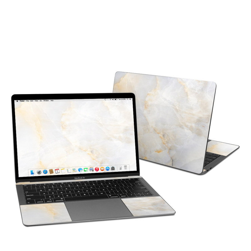 MacBook Air Pre 2020 13-inch Skin design of White, Textile, Flooring, Marble, Paper, Pattern, Fashion accessory, Tile with white, orange, black, yellow colors