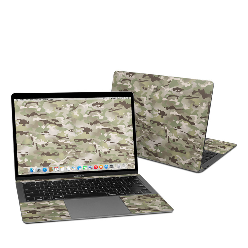 MacBook Air 13-inch Skin design of Military camouflage, Camouflage, Pattern, Clothing, Uniform, Design, Military uniform, Bed sheet with gray, green, black, red colors