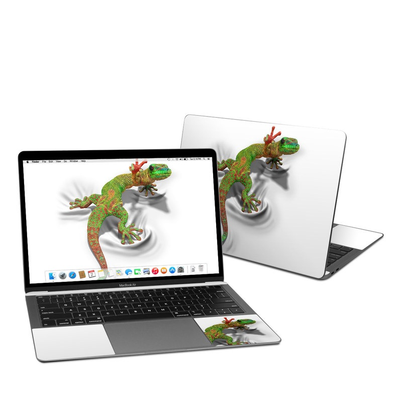 MacBook Air Pre 2020 13-inch Skin design of Lizard, Reptile, Gecko, Scaled reptile, Green, Iguania, Animal figure, Wall lizard, Fictional character, Iguanidae with white, gray, black, red, green colors