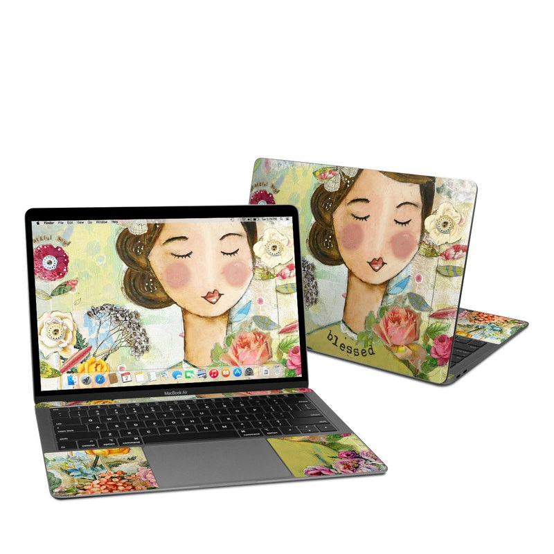 MacBook Air Pre 2020 13-inch Skin design of Illustration, Cheek, Art, Watercolor paint, Retro style, Painting, Plant, Flower, Fashion illustration, Fictional character with pink, green, yellow, white, red, blue colors