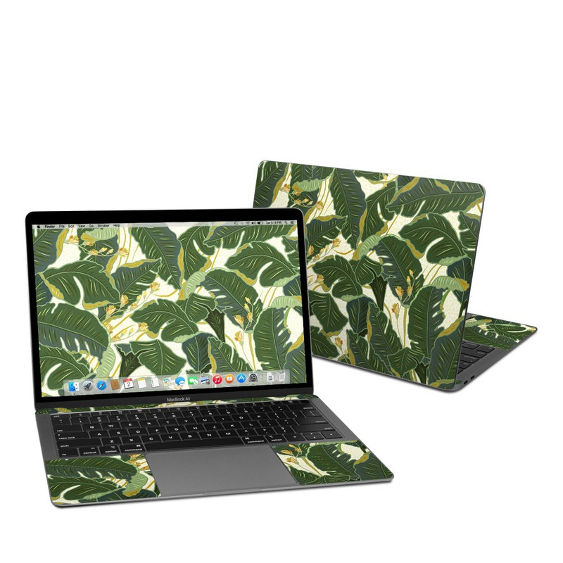 MacBook Air Pre 2020 13-inch Skin design of Leaf, Plant, Flower, Pattern, Botany, Tree, Design, Flowering plant, Arrowroot family, Terrestrial plant with green, yellow colors