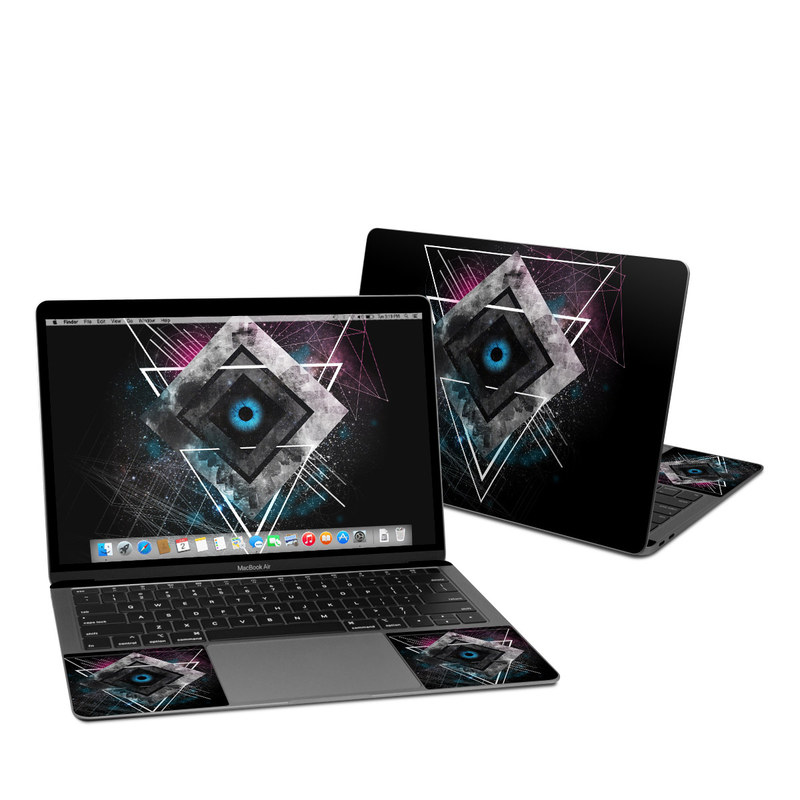 MacBook Air Pre 2020 13-inch Skin design of Graphic design, Design, Pattern, Graphics, Illustration, Font, Circle, Triangle, Fractal art, Logo with black, gray colors