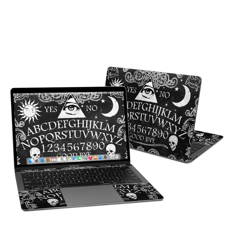 MacBook Air 13-inch Skin design of Text, Font, Pattern, Design, Illustration, Headpiece, Tiara, Black-and-white, Calligraphy, Hair accessory with black, white, gray colors
