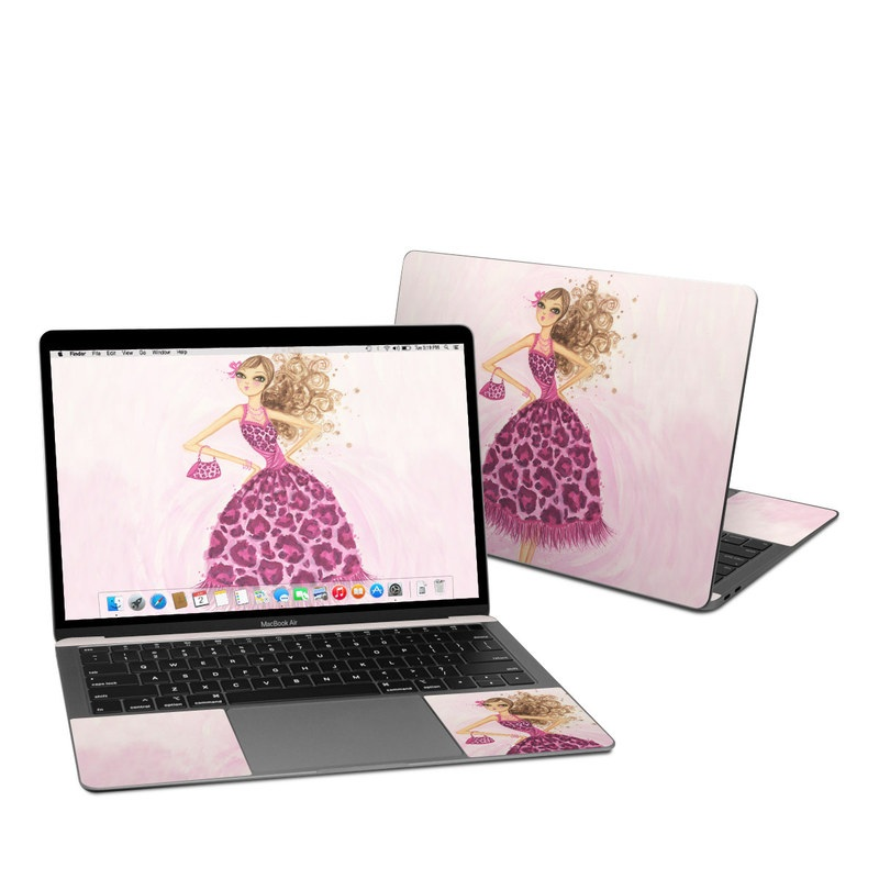 MacBook Air 13-inch Skin design of Pink, Doll, Dress, Fashion illustration, Barbie, Fashion design, Illustration, Gown, Costume design, Toy with pink, gray, red, purple, green colors