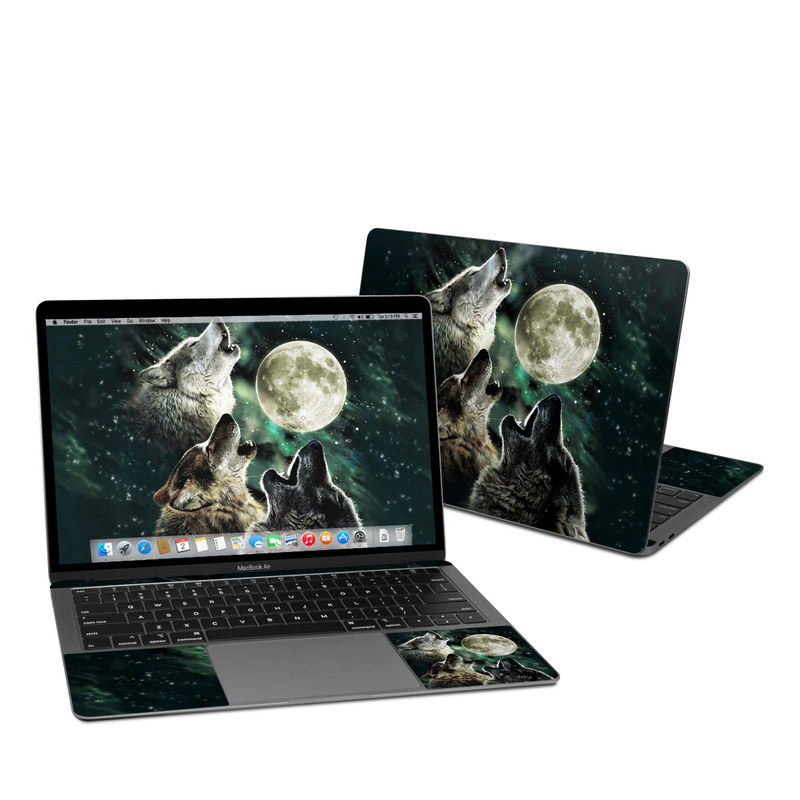 MacBook Air Pre 2020 13-inch Skin design of Wolf, Light, Astronomical object, Moon, Wildlife, Organism, Moonlight, Sky, Atmosphere, Celestial event with black, gray, green colors