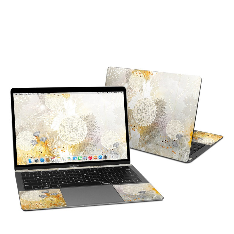 MacBook Air Pre 2020 13-inch Skin design of Pattern, Floral design, Flower, Plant, Illustration, camomile, Wildflower, Art with gray, yellow, pink, white, green colors
