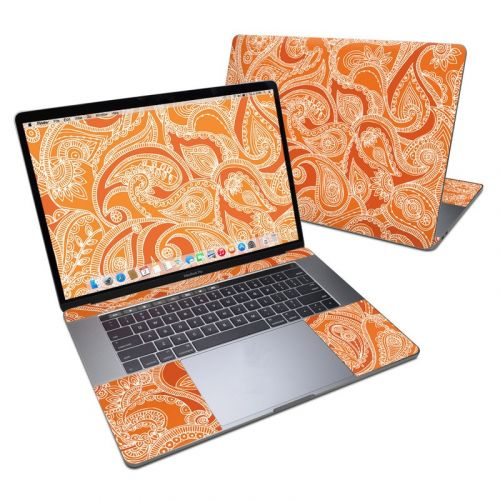 Paisley In Orange MacBook Pro 15-inch Skin