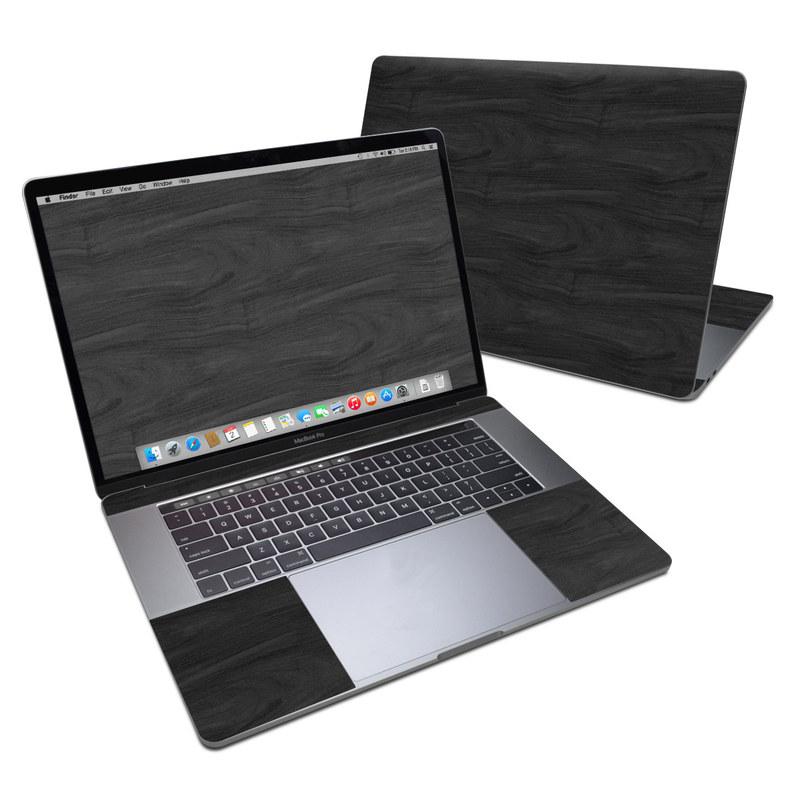 MacBook Pro 15-inch Skin design of Black, Brown, Wood, Grey, Flooring, Floor, Laminate flooring, Wood flooring with black colors