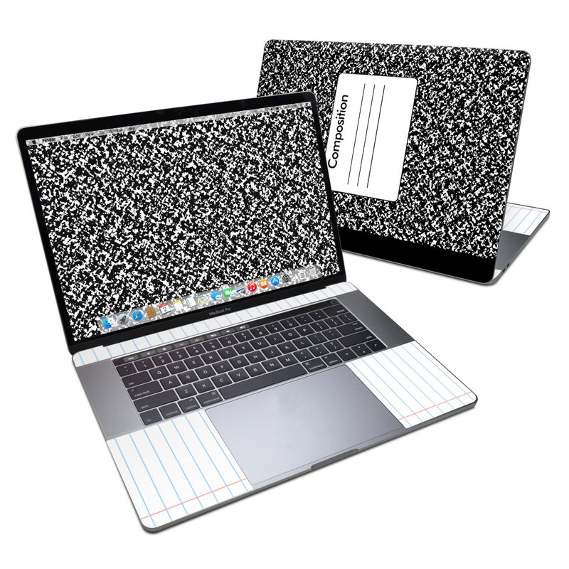 MacBook Pro 15-inch Skin design of Text, Font, Line, Pattern, Black-and-white, Illustration with black, gray, white colors