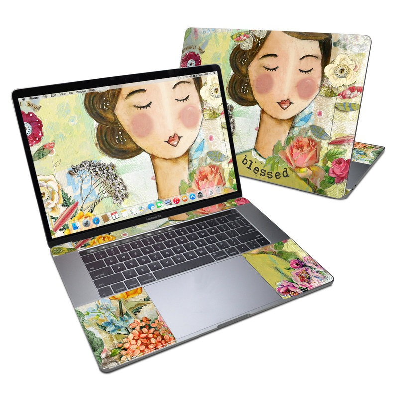 MacBook Pro 15-inch Skin design of Illustration, Cheek, Art, Watercolor paint, Retro style, Painting, Plant, Flower, Fashion illustration, Fictional character with pink, green, yellow, white, red, blue colors