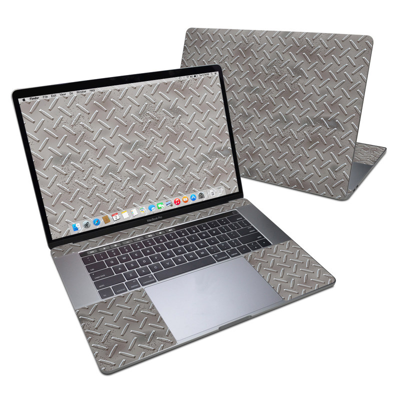 MacBook Pro 15-inch Skin design of Font, Text, Metal, Pattern, Design, Number, Steel with gray colors