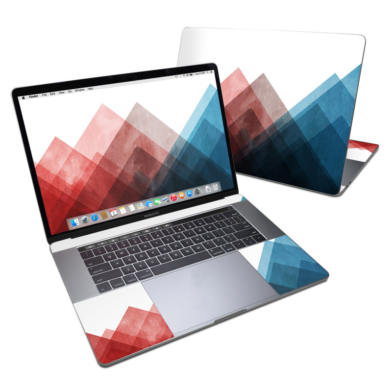 MacBook Pro 15-inch Skin design of Blue, Red, Sky, Pink, Line, Architecture, Font, Graphic design, Colorfulness, Illustration with red, pink, blue colors
