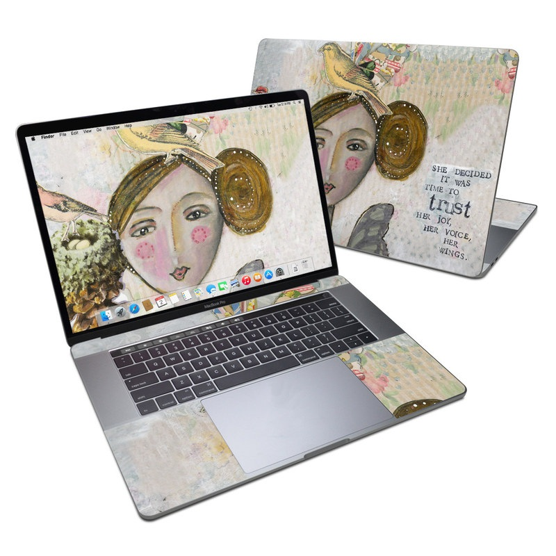 MacBook Pro 15-inch Skin design of Watercolor paint, Illustration, Art, Painting, Child art, Fictional character, Visual arts, Fashion illustration, Feather, Drawing with gray, brown, pink, yellow, red, green, blue colors