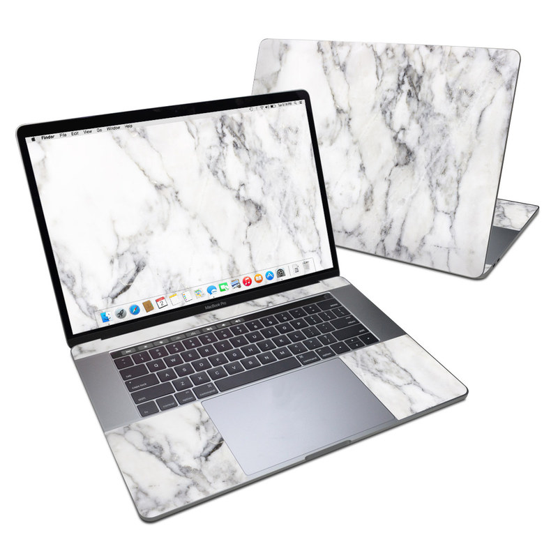 MacBook Pro 15-inch Skin design of White, Geological phenomenon, Marble, Black-and-white, Freezing with white, black, gray colors