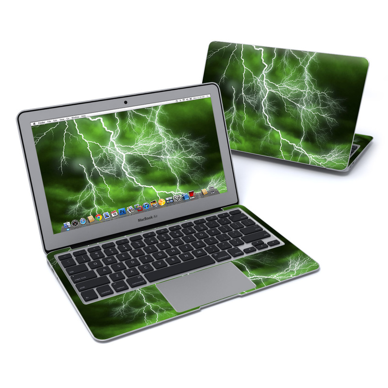 MacBook Air Pre 2018 11-inch Skin design of Thunderstorm, Thunder, Lightning, Nature, Green, Water, Sky, Atmosphere, Atmospheric phenomenon, Daytime with green, black, white colors