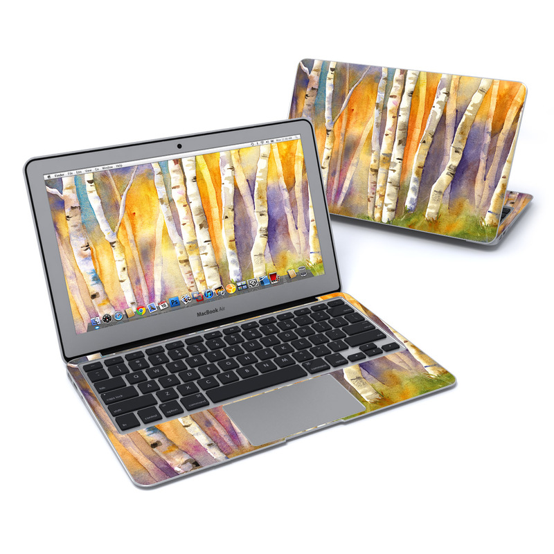 MacBook Air Pre 2018 11-inch Skin design of Canoe birch, Watercolor paint, Tree, Birch, Woody plant, Painting, Plant, Birch family, Paint, Trunk with orange, yellow, green, white, purple, blue colors