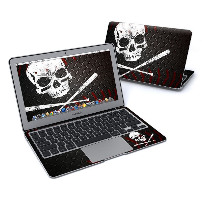 MacBook Air Pre 2018 11-inch Skin design of Skull, Bone, Illustration, Font, Graphic design, Fictional character, Album cover, Helmet, Graphics, Art with black, gray, white, red colors