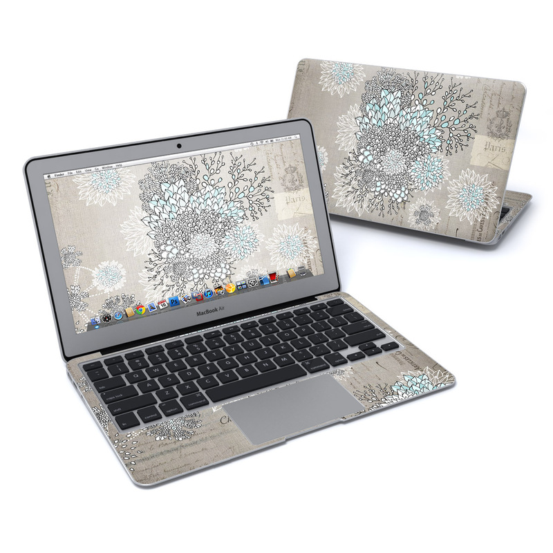 MacBook Air Pre 2018 11-inch Skin design of Pattern, Pedicel, Textile, Floral design with blue, white, black colors