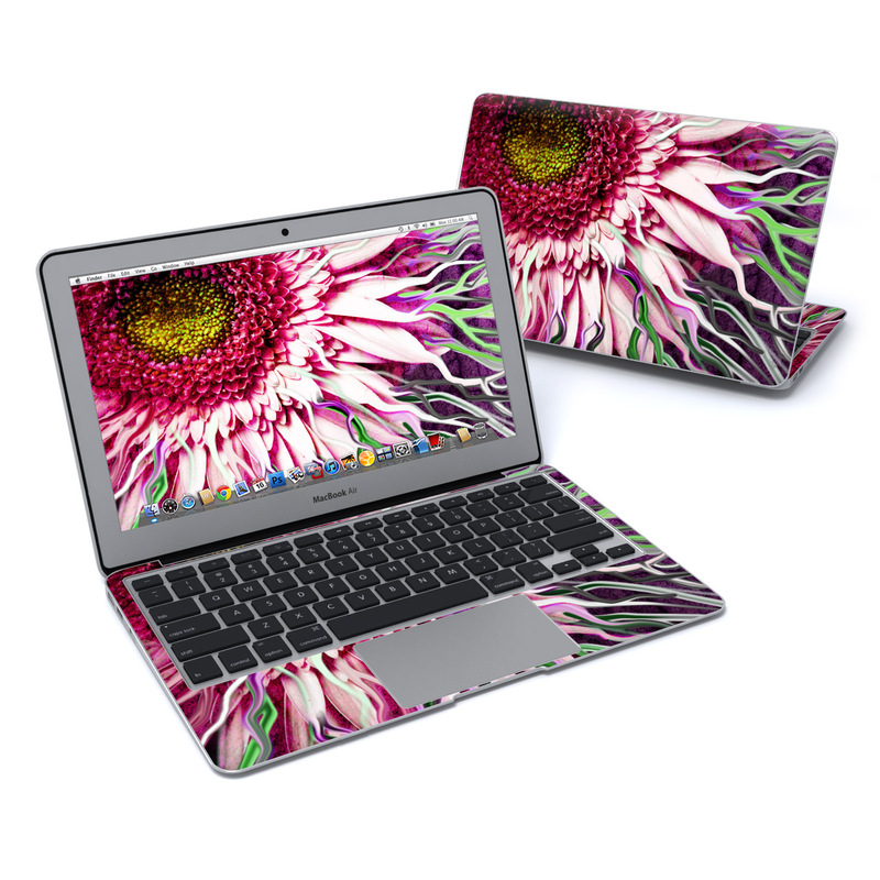 MacBook Air Pre 2018 11-inch Skin design of Flowering plant, Flower, Petal, Plant, Purple, Pink, Gazania, Violet, Gerbera, Chrysanths with black, gray, red, purple, pink, white colors