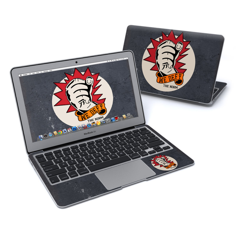 MacBook Air Pre 2018 11-inch Skin design of Logo, Font, Street art, Graphics, Art, Sticker, Illustration, Emblem, Fictional character, Label with black, red, white, orange, gray colors