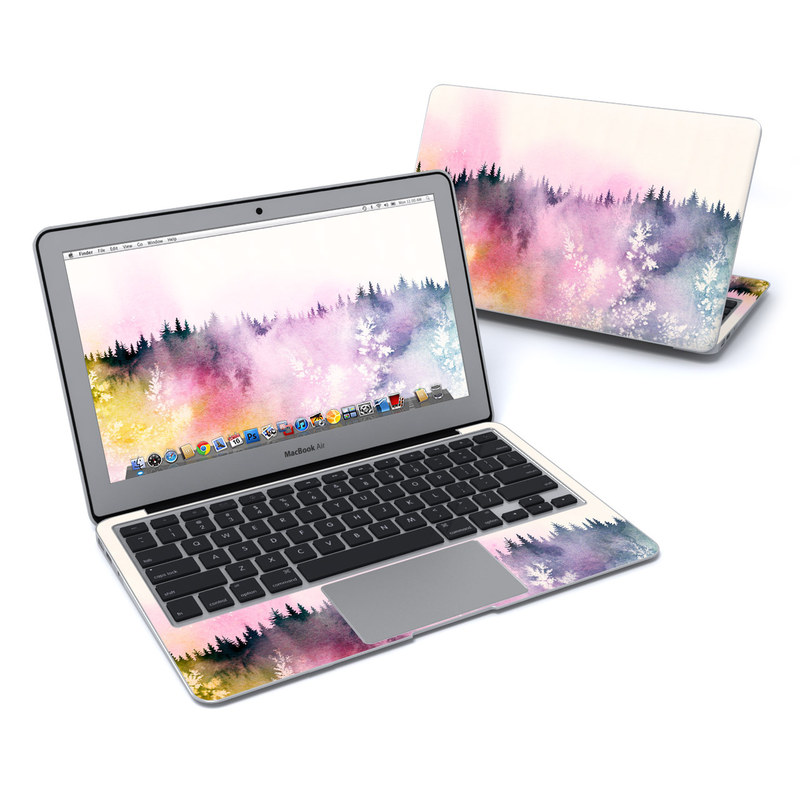 MacBook Air Pre 2018 11-inch Skin design of Watercolor paint, Sky, Atmospheric phenomenon, Tree, Atmosphere, Cloud, Landscape, Forest, Painting, Illustration with white, yellow, pink, purple, blue, black colors